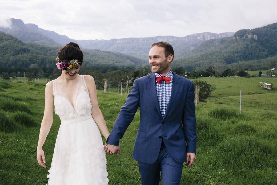 bride-groom-documentary-wedding-photographer-boho-chic-wedding-dress-pastel-flower-crown-kangaroo-valley-melross-estate-farm-venue-barn