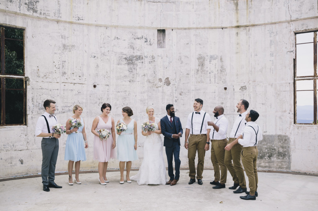 Canberra-wedding-photographer-videographer-mt-stromlo-ruins-australia-bridal-party-bow-ties-suspenders