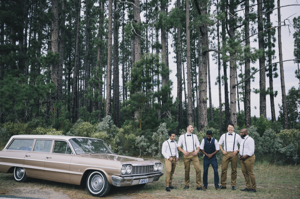 Canberra-wedding-photographer-videographer-mt-stromlo-australia-groomsmen-forest-vintage-car