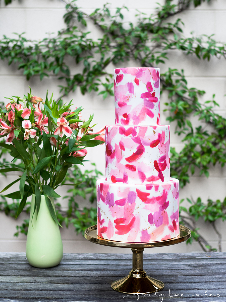 wedding-cake-canberra-sydney-southern-highlands-south-coast-photographer-forty-two-cakes-pink-pastel-floral-design-fondant